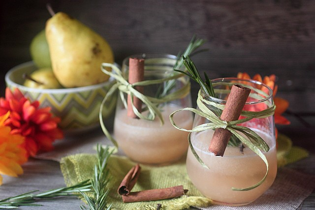 Rosemary Pear Spiced Rum Cocktail {mind-over-batter.com}