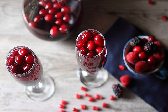 Cranberry Berry Pomegranate Sangria {mind-over-batter.com}
