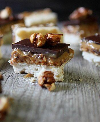 Caramel Peanut Shortbread Bars {mind-over-batter.com}