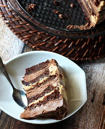 10-Layer Chocolate Caramel Mousse Cake {mind-over-batter.com}