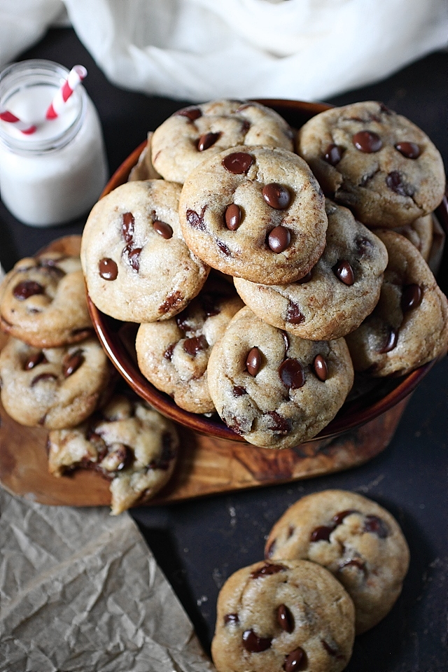 Chewy chocolate chip cookies with brown butter.
