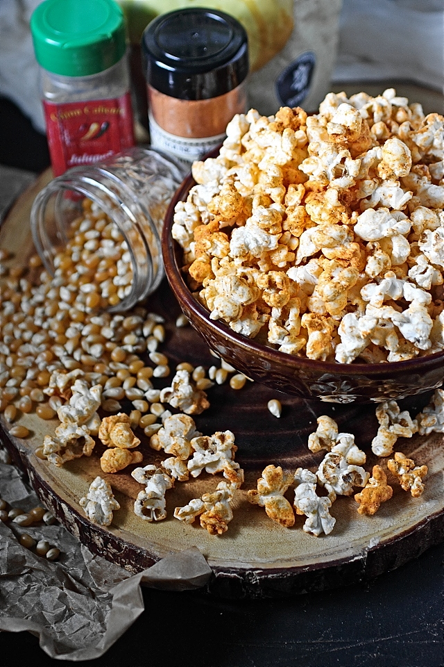 Spicy Cheddar Cheese Popcorn --- www.mind-over-batter.com